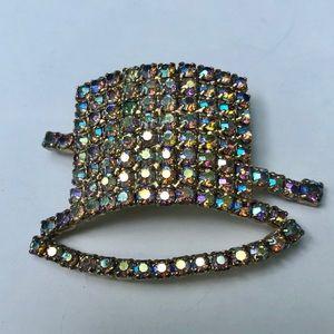Butler & Wilson Rhinestone Top hat vintage brooch